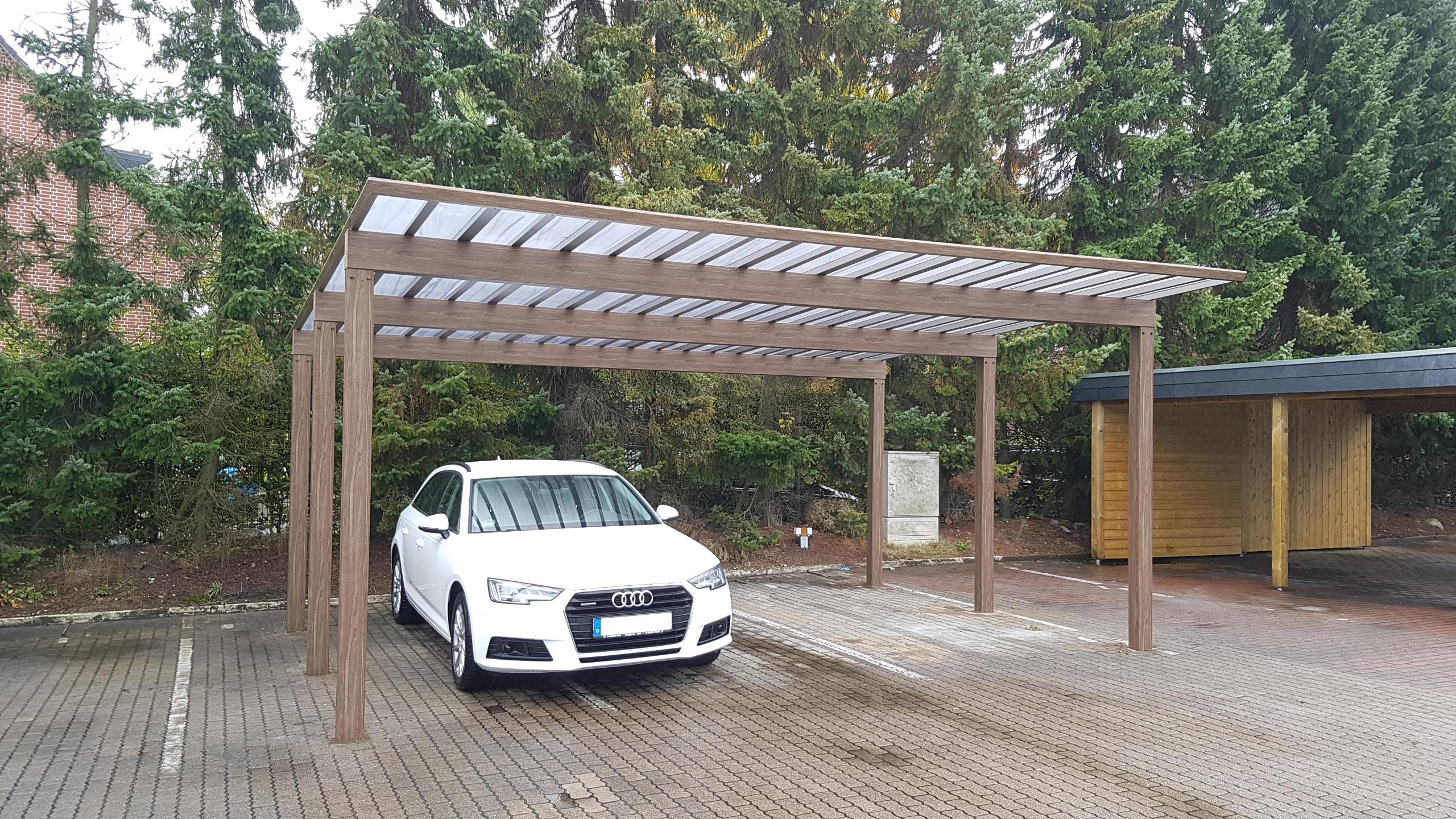 Carport aus aluminium holzoptik tms bautz gmbh